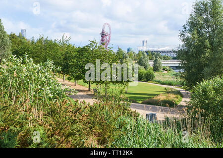 London Olympic Park in summertime, viewed from the Northern Parklands, Stratford, London UK - Stock Photo