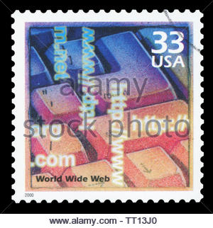 UNITED STATES OF AMERICA - CIRCA 2000: A stamp printed in USA shows Computer keyboard, introduction of the Internet and the World Wide Web, - Stock Photo
