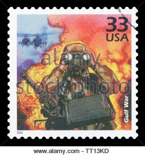 UNITED STATES OF AMERICA - CIRCA 2000: A stamp printed in USA show Soldier and Chinook helicopters, Iraqi invasion of Kuwait, 1990, devote Gulf War. - Stock Photo