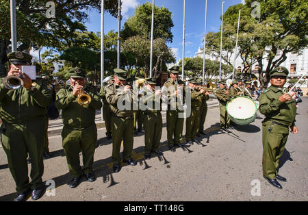 Band during a workers' protest, Sucre, Bolivia - Stock Photo