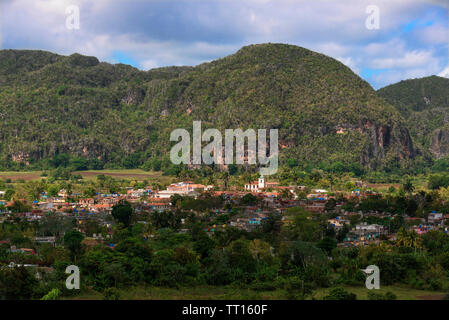 The magnificent setting of Vinales a UNESCO site within the Vinales Valley and with limestone outcrops (mogotes) in the background. Cuba,Caribbean - Stock Photo