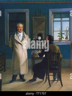 JOHANN WOLFGANG von GOETHE (1749-1832) German novelist,poet and statesman with his secretary painted by Johann Schmeller. - Stock Photo