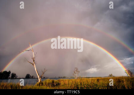 Beautiful nature landscape of a double rainbow over a small lake and grassy wetlands after a rain storm. - Stock Photo