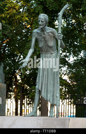 Moscow, Russia - July 24, 2008: Children Are the Victims of Adult Vices is a group of bronze sculptures created by Russian artist Mihail Chemiakin. Th - Stock Photo