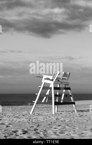 A lifeguard's chair on the beach in Cape May, New Jersey, USA. Black and white photography - Stock Photo
