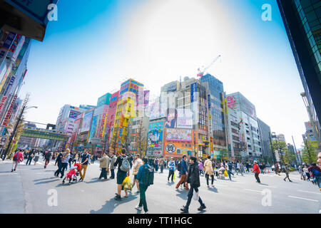 Pedestrian filled intersection in Akihabara - Stock Photo