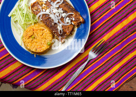 Enmoladas, Mexican enchiladas made with mole sauce, traditional food of southern Mexico states. Copy space. - Stock Photo
