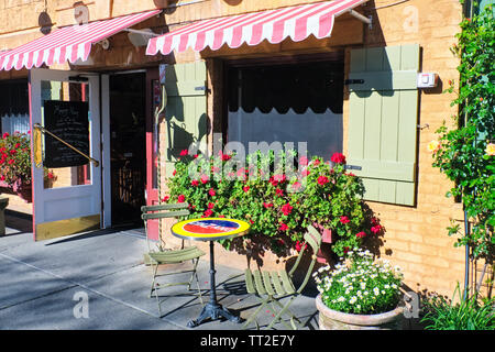 Entrance of a Traditional French Bistro, Yountville, Napa Valley, California - Stock Photo