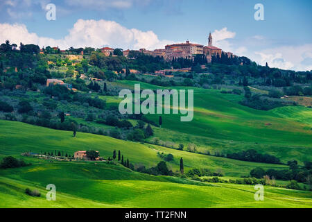 Low Angle View of Pienza in a Tuscan Countryside, Italy - Stock Photo