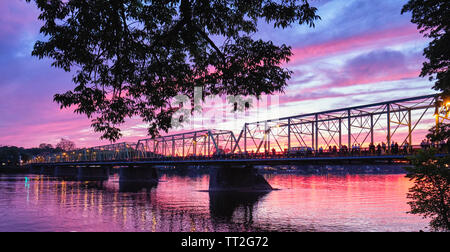 Low Angle View of the Lambertville-New Hope Bridge Over The Delaware River from the New Jersey Side - Stock Photo