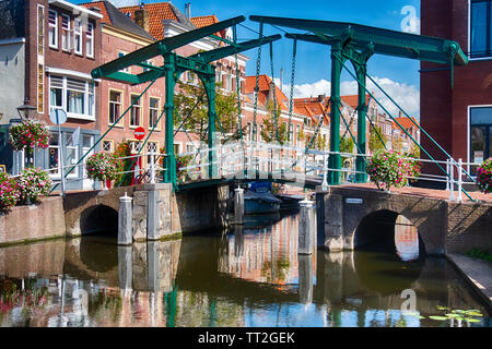 Small Drawbridge over a Canal, Leiden, Netherlands - Stock Photo