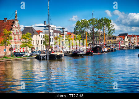 Canal woth Old Ships, Kort  Galgewater, Leiden, Netherlands - Stock Photo