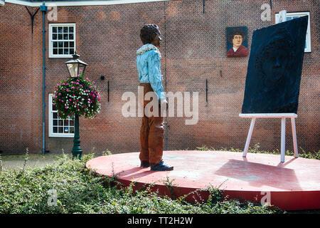 Rembrandt Statue, Rembrandtplaats,  Leiden, South Holland, Holland, The Netherlands - Stock Photo