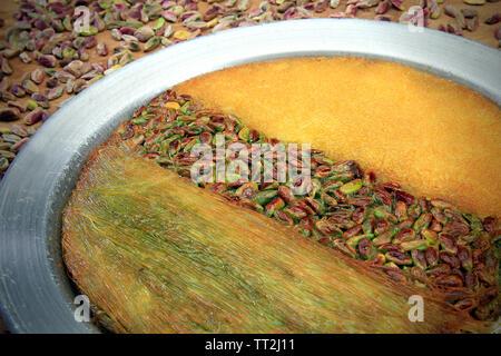 3 different pistachio turkish dessert in one - Stock Photo