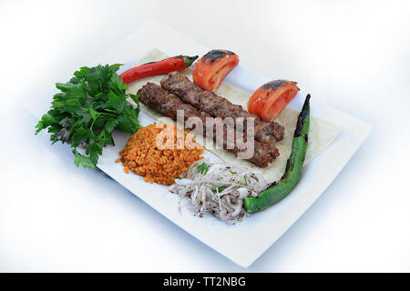 adana shish kebab turkish traditional food - Stock Photo