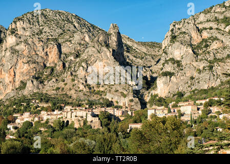Beautiful old town in Provence, Moustiers Sainte Marie, France, Europe - Stock Photo
