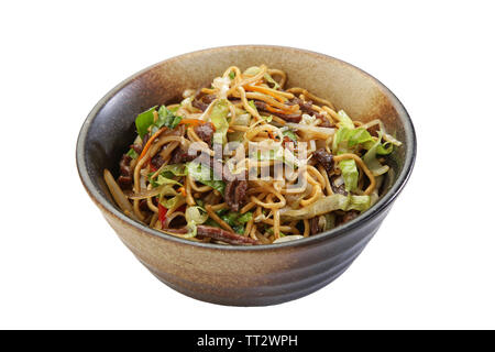 pork beef noodle asian style white background isolated - Stock Photo