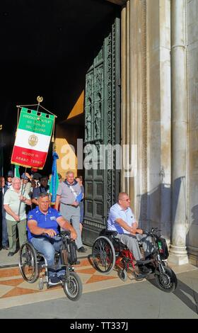 Padua, June 13th 2019.  Saint Anthony Feast.  On a hot day, thousands of pilgrims arrived from all over the world to pay homage to the saint. - Stock Photo