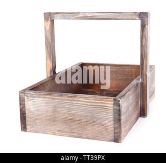 Wooden crate isolated on white - Stock Photo