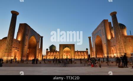 View of Registan at dusk. Samarkand. Uzbekistan - Stock Photo