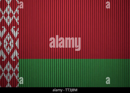Belarus flag painted on the cracked grunge concrete wall - Stock Photo