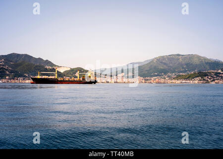 The city of Salerno, Italy, seen from the Gulf of Salerno - Stock Photo