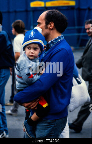 Chelsea FC supporters at Chelsea V Millwall football match 4 February 1985 at Chelsea, London England. 4 Feb 1985 - Stock Photo