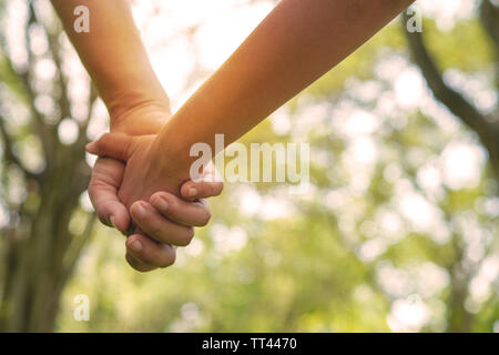 love and happy couple, close up holding hand together as walking in park with sunset - Stock Photo