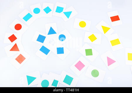 Educational cards with color geometric shapes, close up - Stock Photo