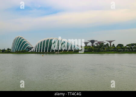 The Cloud Forest and Flower Dome at Singapore's Gardens by the Bay, Asia - Stock Photo