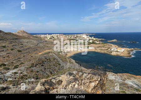 Panoramic view of Cabo de Palos from Monte de las Cenizas y Peña del Águila Regional Park, Murcia, Spain - Stock Photo