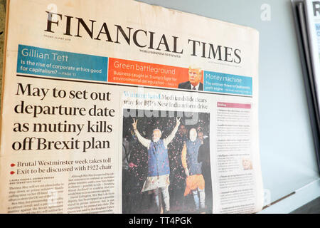 Financial Times front page headline newspaper headlines article  'May to set out departure date as mutiny kills off Brexit plan' London UK May 24 2019 - Stock Photo