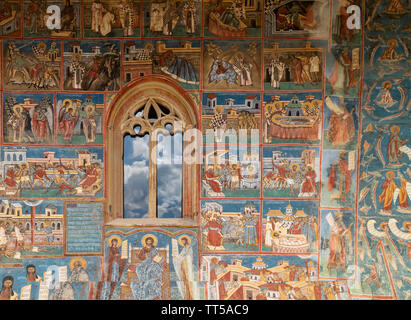 Bucovina, Romania - August 5th, 2018: A detail of the Voronet monastery, one of the famous painted monasteries of Bucovina, Romania - Stock Photo