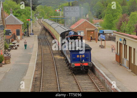 Strathspey Steam Railway; 828 steam train in Boat of Garten station. Scotland UK - Stock Photo