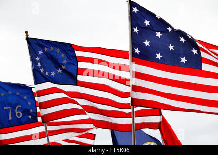 Philadelphia, PA, USA - June 14, 2019: Historic American flags are flown to commemorate Flag Day at the National Constitution Center, in Philadelphia, Pennsylvania. Credit: OOgImages/Alamy Live News - Stock Photo