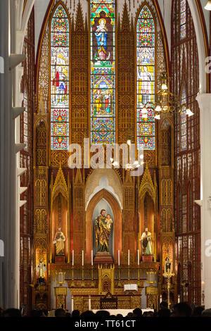 Inside St. Joseph's Cathedral, Roman Catholic Church, Hanoi, Vietnam, Asia - Stock Photo