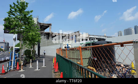 TOKYO, JAPAN - May 13, 2019: Construction work for new roads at the site of Tsukiji Market, Tokyo. Part of the city planning Ring Road No.2 project.