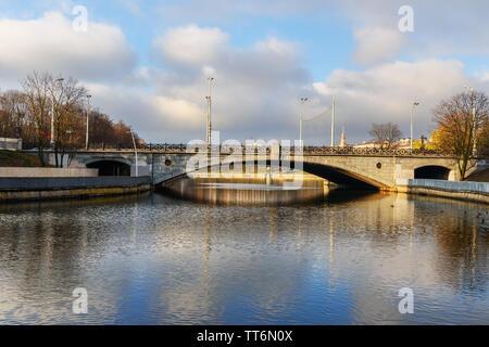 Bridge over Svisloch river in Gorky Park in autumn. Minsk. Belarus - Stock Photo