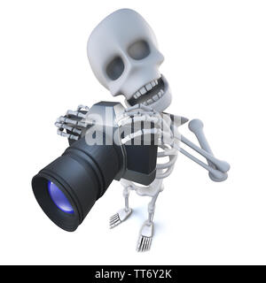 3d render of a funny cartoon spooky skeleton character taking a photo with a camera - Stock Photo
