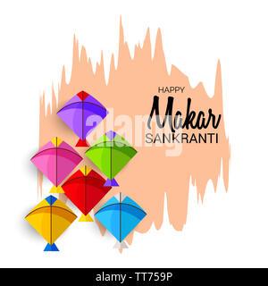 illustration of a background for Happy Makar Sankranti. - Stock Photo