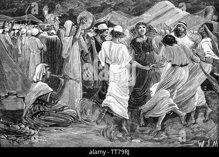 When Moses went up into biblical Mount Sinai to receive the Ten Commandments around 1310 BC , he left the Israelites for forty days and forty nights during which time Aaron, prophet, high priest, and the brother of Moses,  constructed a 'molten calf',  built an altar before the calf and early the next day worshipped and offered burnt-offerings to the calf. When an angry Moses, came down from the mountain hed burnt the golden calf in a fire, ground it to powder, scattered it on water, and forced the Israelites to drink it. - Stock Photo
