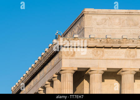 Lincoln Memorial roof detail, Washington DC, USA - Roof detail of the Lincoln Memorial in Washington DC inscribed with the names of the US states - Stock Photo