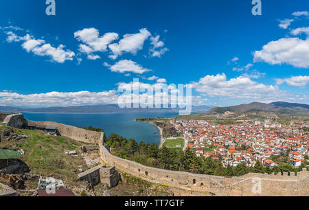 View of the Ohrid town as seen from the castle Samuil, Republic Of Macedonia - Stock Photo