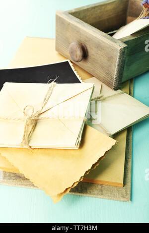 Vintage memories on wooden background - Stock Photo