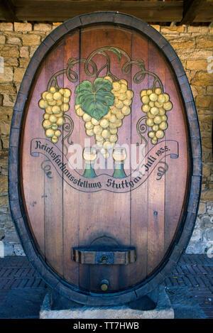 Huge wine barrel at the German Wine Gate (german: Deutsches Weintor), German Wine Route, Schweigen-Rechtenbach, Rhineland-Palatinate, Germany - Stock Photo