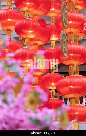 Chinese New Year decorations on Lee Tung Avenue, Wan Chai, Hong Kong Island, Hong Kong - Stock Photo