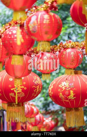 Lanterns on Pottinger Street, Central, Hong Kong, China - Stock Photo