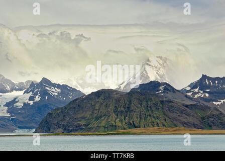 Coastal mountains around Grytviken bay, South Georgia, Antartica - Stock Photo