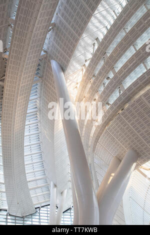 Interior of West Kowloon High Speed Rail Station, West Kowloon, Hong Kong - Stock Photo