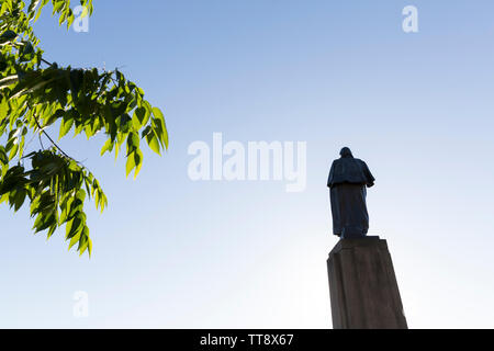 Rear view of the George Washington Statue in Red Square at the University of Washington on June 11, 2019. - Stock Photo